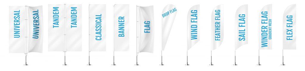 Dostępne rodzaje flag reklamowych