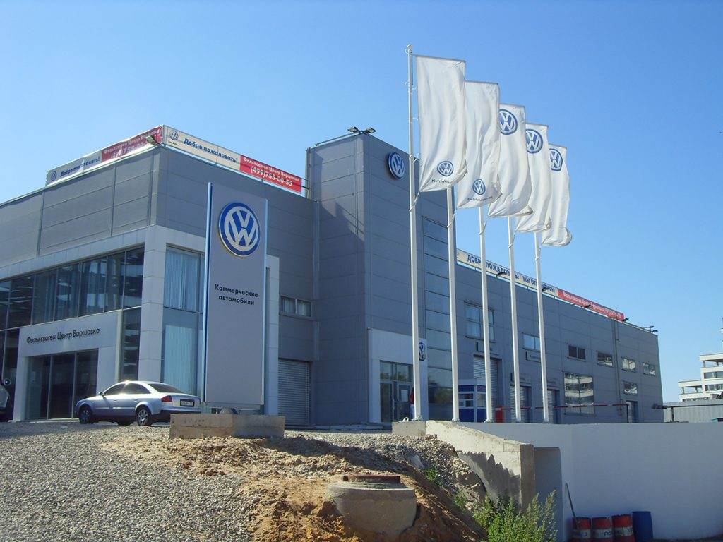 Maszty i flagi reklamowe Dealer Volkswagen – Rosja
